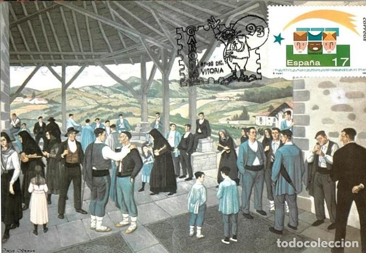 1993 MATASELLOS SOBRE TARJETA VITORIA GABONA JOSE ARRUE VALLE (Sellos - España - Juan Carlos I - Desde 2.000 - Cartas)