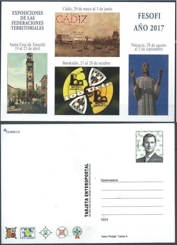 ESPAÑA 2017 ENTERO POSTAL FESOFI EXPOSICIONES TERRITORIALES DE FEDERACIONES FILATÉLICAS ED 122 (Sellos - España - Juan Carlos I - Desde 2.000 - Cartas)