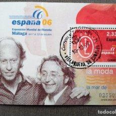 Sellos: ESPAÑA 2006, HOJA BLOQUE , LA MODA: VICTORIO & LUCCINO, USADO, CON GOMA INTACTA . Lote 109903707