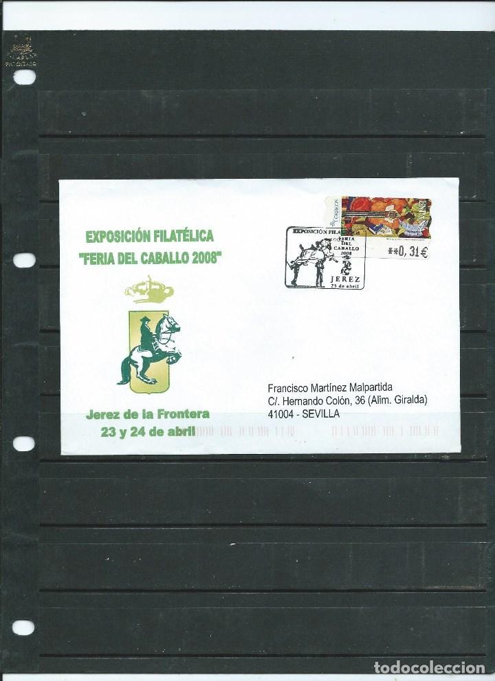 SOBRE CON MATASELLO ESPECIAL DE JEREZ DE LA FRONTERA DE LA FERIA DEL CABALLO DEL AÑO 2008 CIRCULADO (Sellos - España - Juan Carlos I - Desde 2.000 - Cartas)