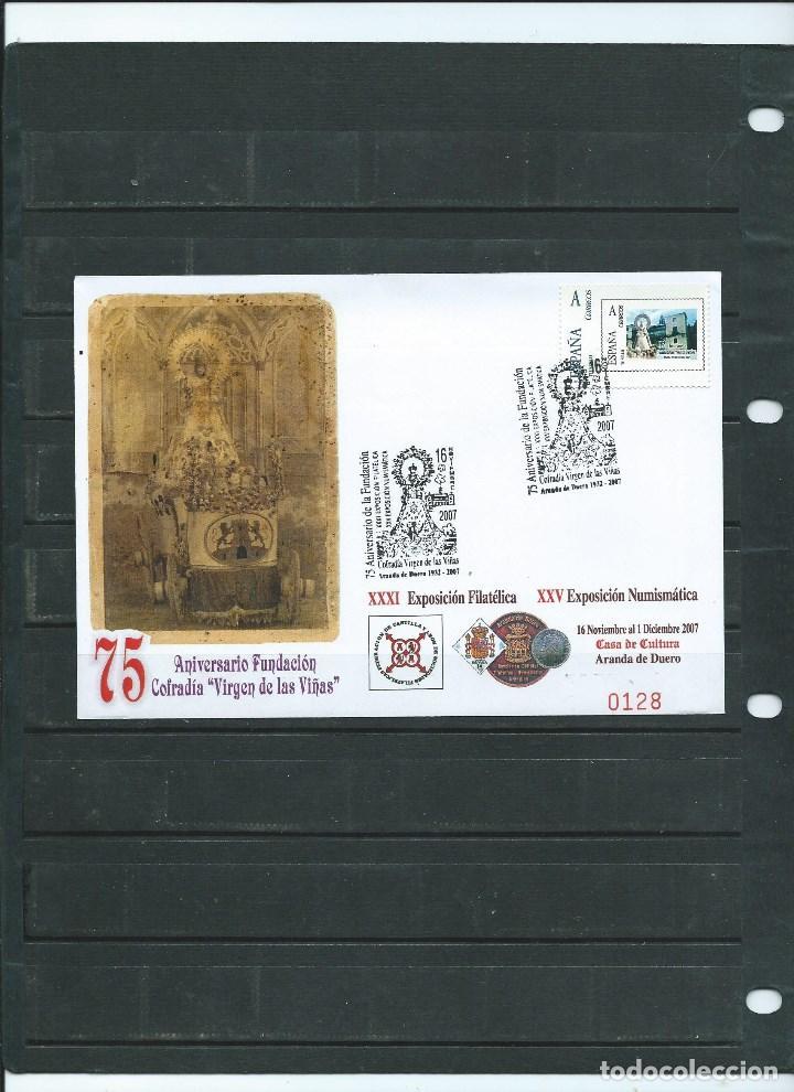 SOBRE CON MATASELLO ESPECIAL DE ARANDA DE DUERO DEDICADO A LA VIRGEN DE LAS VIÑAS DEL AÑO 2007 (Sellos - España - Juan Carlos I - Desde 2.000 - Cartas)