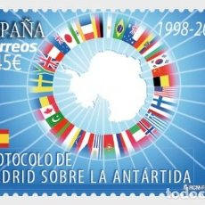 Sellos: SPAIN 2018 - EPHEMERIDES - MADRID PROTOCOL ON ANTARCTICA 1998-2018. Lote 112255919