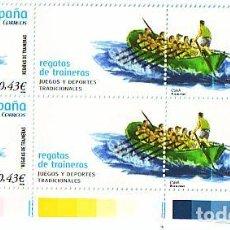Sellos: ESPAÑA. 4425 JUEGOS TRADICIONALES: REGATAS DE TRAINERAS. 4 SELLOS + 2 BANDELETAS. 2008. SELLOS NUEV. Lote 112610387