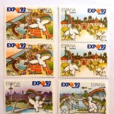 Sellos: SELLOS ESPAÑA 1990. EDIFIL 3050/53. NUEVOS. EXPO 92. BLOQUE DE DOS.. Lote 115611063