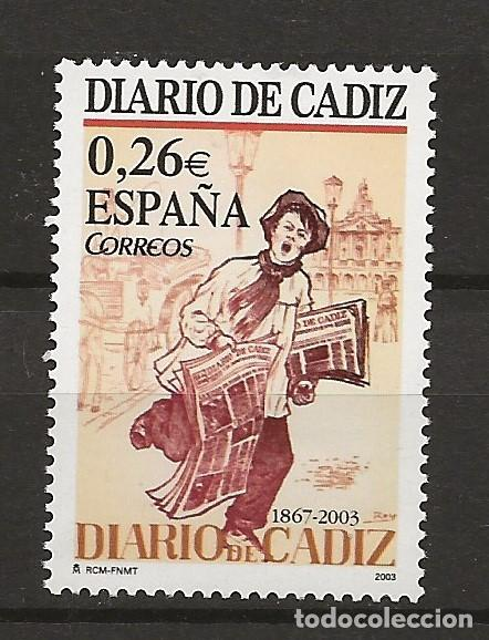 R13.G35/ ESPAÑA 2003, EDIFIL 3995, MNH**, DIARIO DE CADIZ (1867) (Sellos - España - Juan Carlos I - Desde 2.000 - Nuevos)