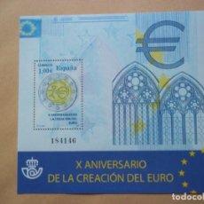 Sellos: HOJA DE BLOQUE ESPAÑA 1€ 2009 FNMT X ANIVERSARIO DE LA CREACION DEL EURO NUEVO CON GOMA. Lote 113511803