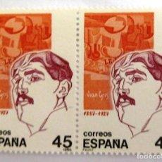 Sellos: SELLOS ESPAÑA 1986. EDIFIL 2856. NUEVOS. PERSONAJES. JUAN GRIS. BLOQUE DE DOS.. Lote 114016539