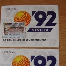 Sellos: ESPAÑA 1992 EDIFIL H-3191 2 HOJITAS NUEVA PERFECTAS. Lote 114195143