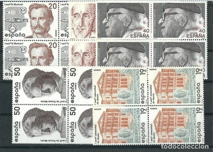 ESPAÑA 1987 EDIFIL 2880/84** CENTENARIOS EN BLOQUES DE 4 (Sellos - España - Juan Carlos I - Desde 1.986 a 1.999 - Nuevos)