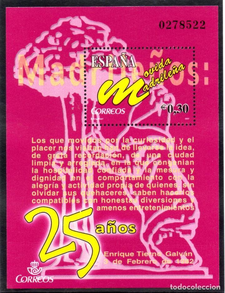 ESPAÑA.- HOJA BLOQUE DEL AÑO 2007, EN NUEVA. ANIVERSARIO DE LA MOVIDA MADRILEÑA (Sellos - España - Juan Carlos I - Desde 2.000 - Nuevos)