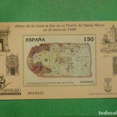 Sellos: SELLO - ESPAÑA - HOJITA - MINIPLIEGO - EDIFIL SH 3722 - AÑO 2000 - CENTENARIO CARTA JUAN DE LA COSA. Lote 115977287