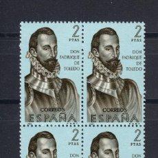 Sellos: 1965 EDIFIL 1682** NUEVOS SIN CHARNELA. BLOQUE DE CUATRO. FORJADORES. Lote 116073055