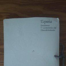 Sellos: CARPETA EMISIONES V CENTENARIO DESCUBRIMIENTO DE AMÉRICA (CONTIENE 6 SERIES Y 1 HOJA-BLOQUE). Lote 116962083