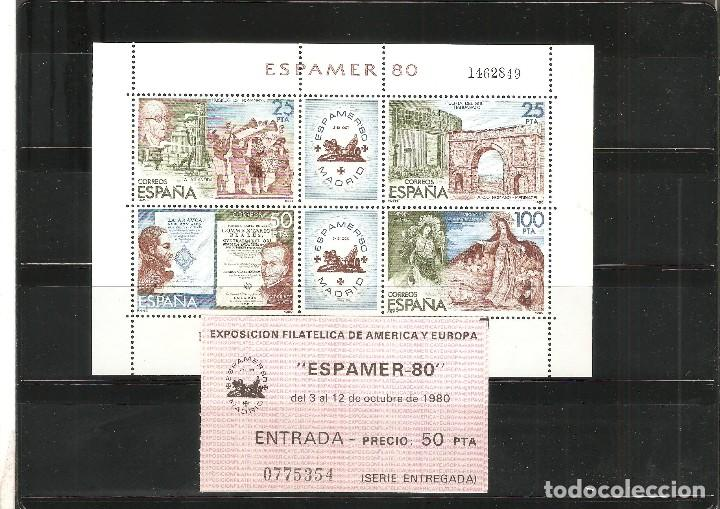 HOJA BLOQUE - ESPAMER 80 - INCLUYE ENTRADA - EDIFIL 2583 (Sellos - España - Juan Carlos I - Desde 1.975 a 1.985 - Nuevos)