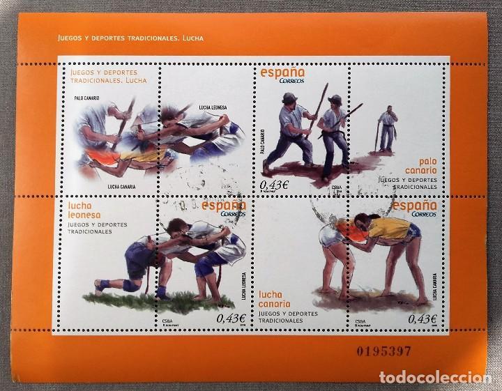 ESPAÑA 2008- MINIPLIEGO JUEGOS Y DEPORTES TRADICIONALES USADO (Sellos - España - Juan Carlos I - Desde 2.000 - Usados)