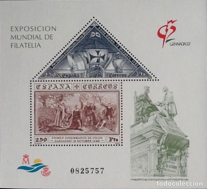 HOJA -BLOQUE EXPOSICIÓN MUNDIAL DE FILATELIA GRANADA'92. EDIFIL 3195. (Sellos - España - Juan Carlos I - Desde 1.986 a 1.999 - Nuevos)