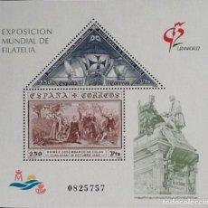 Sellos: HOJA -BLOQUE EXPOSICIÓN MUNDIAL DE FILATELIA GRANADA'92. EDIFIL 3195.. Lote 119254591
