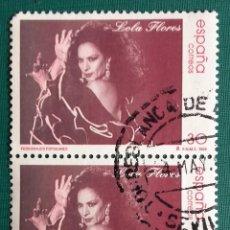 Sellos: ESPAÑA 1986, 2 SELLOS USADOS , PERSONAJES POPULARES.LOLA FLORES . Lote 119261935