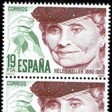 Sellos: ESPAÑA 1980. CENTENARIO DE HELEN KELLER - EDIFIL 2568/2569 - (**). Lote 119273967