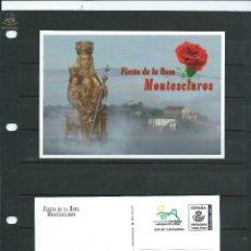Sellos: TRAJETA POSTAL DE LA FIESTA DE LA ROSA DEL SANTUARIO DE MONTESCLAROS CON FRANQUEO TARIFA NACIONAL. Lote 219923870