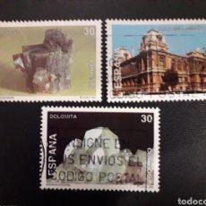 Selos: ESPAÑA. EDIFIL 3343/5. SERIE COMPLETA USADA. MINERALES. 1995.. Lote 120472456