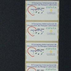 Sellos: ESPAÑA.AÑO 2002./2º CONGRESO INTERNACIONAL PREVENCIÓN RIESGOS LABORALES.TIRA DE 5, NUEVAS Y LIMPIAS.. Lote 121173859