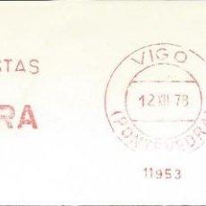 Sellos: AÑO 1978. FRANQUEO MECÁNICO. FRAGMENTO. VIGO. RUBIERA. FELICES FIESTAS. NAVIDAD. MÁQUINA 11953.. Lote 121473923