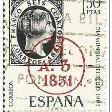 Sellos: == S192 - SELLO ESPAÑA - DIA MUNDIAL DEL SELLO 1969 - 1,50 PTA. Lote 122494419