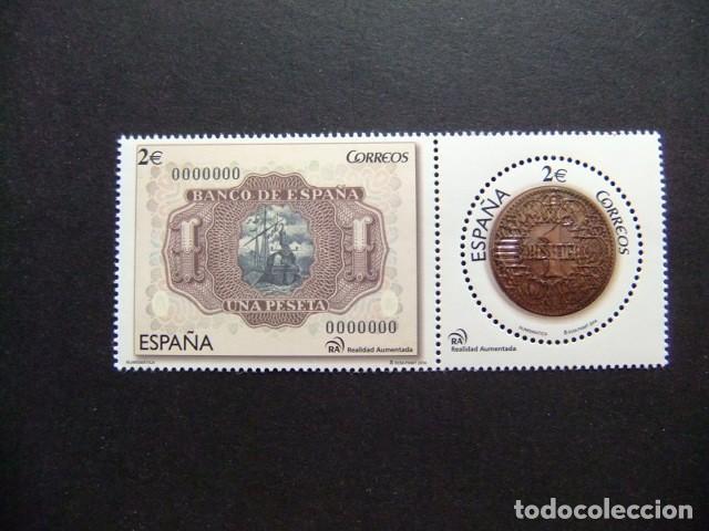 ESPAÑA ESPAGNE 2014 NUMISMATICA BILLETE Y MONEDA DE 1 PESETA EDIFIL 4919 /20 ** MNH (Sellos - España - Juan Carlos I - Desde 2.000 - Nuevos)
