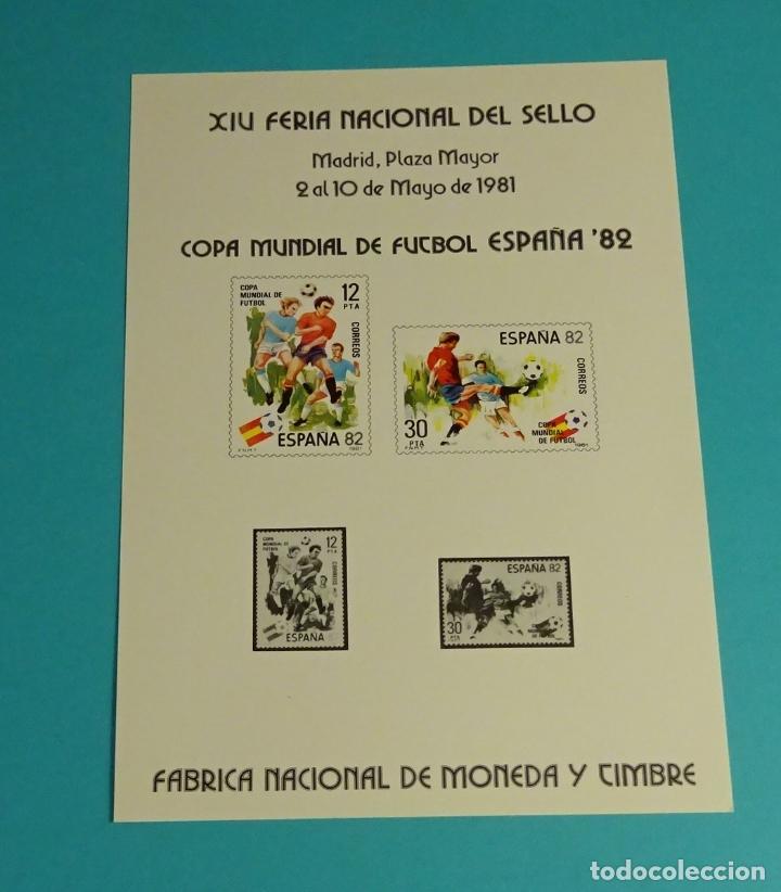 TARJETA RECUERDO AÑO 1981 XIV FERIA NACIONAL DEL SELLO COPA MUNDIAL FUTBOL ESPAÑA 82 . FNMT (Sellos - España - Juan Carlos I - Desde 1.975 a 1.985 - Cartas)