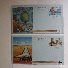 Sellos: 2 AEROGRAMAS - AIR LETER - ESPAÑA 1984 - AERONAVE AEROPUERTO, CONTROLADOR DE TRÁFICO AÉREO. Lote 125857947