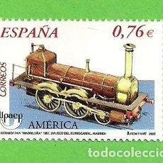 Sellos: EDIFIL 4025. AMÉRICA-UPAEP. - LOCOMOTORA DE VAPOR. LONG BOILER ''MADRILEÑA''. (2003).** NUEVO.. Lote 128382755