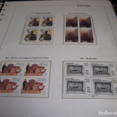 Sellos: ESPAÑA 2001. SELLOS NUEVOS EN BLOQUE DE 4 CON 4 HOJAS BLOQUE + HOJAS EDIFIL + ALBUM DE CALIDAD.. Lote 128656587