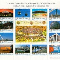 Sellos: 2 HOJAS DE 12 SELLOS EXPOSICIÓN UNIVERSAL SEVILLA 1992. Lote 129078131