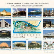 Sellos: 2 HOJAS DE 12 SELLOS EXPOSICIÓN UNIVERSAL SEVILLA 1992. Lote 129078215