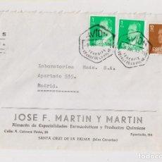 Sellos: SOBRE DE SANTA CRUZ DE LA PALMA. TENERIFE. CANARIAS. 1982. POR AVIÓN. CORREO AÉREO.. Lote 130477062