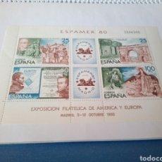 Sellos: SELLOS, HOJA COMPLETA DE ESPAMER 80, 4 SELLOS-MADRID 12 OCTUBRE DE 1980, NUEVOS. Lote 130991887