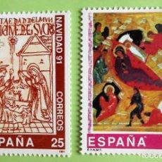 Sellos: ESPAÑA. 3142/43 NAVIDAD: NACIMIENTO DE CRISTO Y LA NATIVIDAD DE CRISTO. 1991. SELLOS NUEVOS Y NUMERA. Lote 131208744