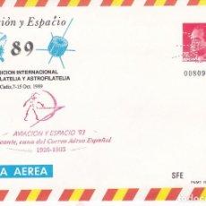 Sellos: F27-47- ENTERO POSTAL AVIACION Y ESPACIO 89. CÁDIZ. MARCA ALICANTE 93 Y PERFORADO. Lote 133467334