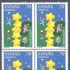 Sellos: 2000 EDIFIL 3707** NUEVOS SIN CHARNELA. BLOQUE DE CUATRO. EUROPA 2000. Lote 134061426