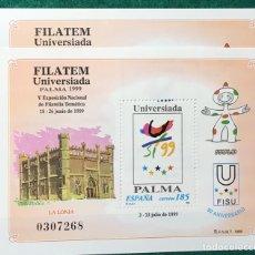 Sellos: 2 HB. FILATEM-UNIVERSIADA PALMA 1999. Lote 134105749