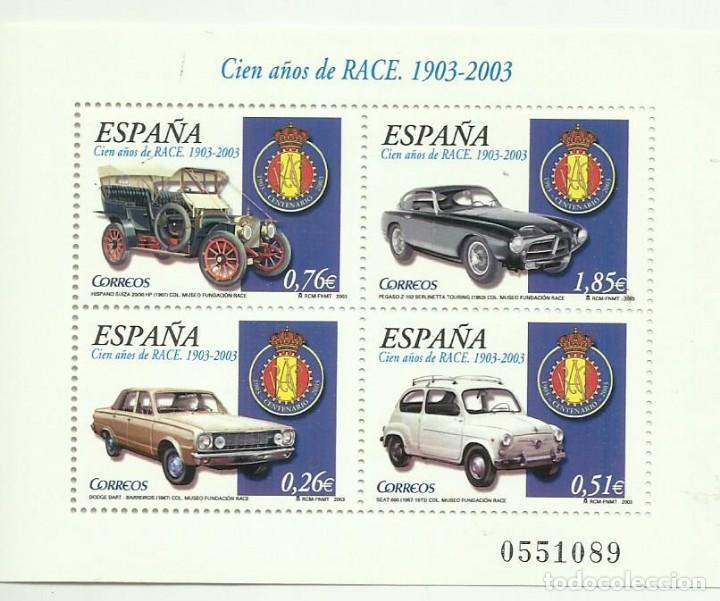 HB 2003. CIEN AÑOS DE RACE. 4 SELLOS DE FACIAL 3,38 EUROS. 30% DESCUENTO (Sellos - España - Juan Carlos I - Desde 2.000 - Nuevos)