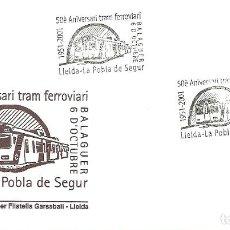 Sellos: CARTA CIRCULADA CON MATASELLO FERROVIARIO CONMEMORATIVO ,LLEIDA-LA POBLA DE SEGUR. Lote 135278546