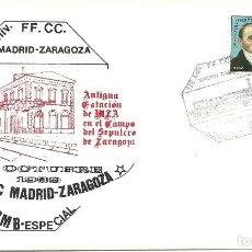 Sellos: SOBRE ESPAÑA CON MATASELLOS FERROVIARIOS 125 ANIV.FFCC MADRID ZARAGOZA , AMBULANTE. Lote 135279270
