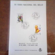 Sellos: XV FERIA NACIONAL DEL SELLO, TARJETA Y MATASELLOS CONMEMORANDO . Lote 135891018