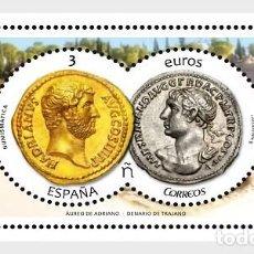Sellos: SPAIN 2017 - NUMISMATICS 2017 - AUREUS OF HADRIAN AND DENARIUS OF TRAJAN MNH. Lote 137100322