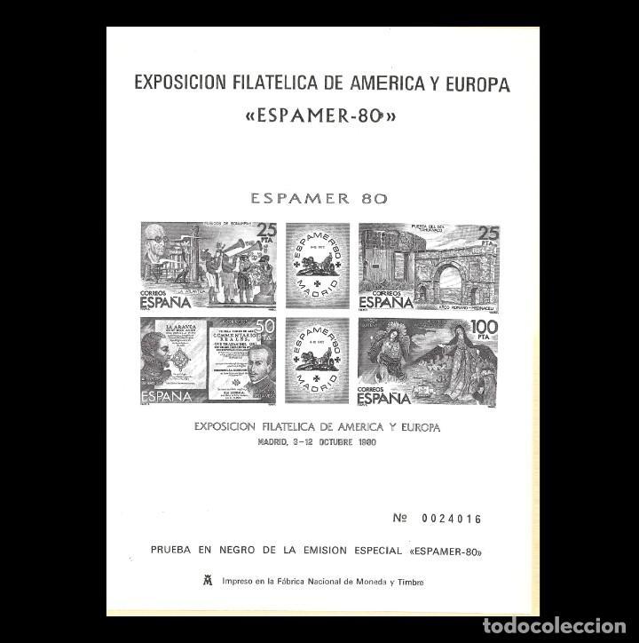 1980 PRUEBAS OFICIALES.EXPOSICÓN FILATÉICA AMÉRICA EUROPA. ESPAMER 80 (Sellos - España - Juan Carlos I - Desde 1.975 a 1.985 - Nuevos)