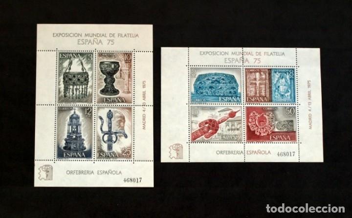 ORFEBRERIA ESPAÑOLA - AÑO 1975 - Nº EDIFIL 2252/2253 - 2 HOJITAS CON MISMO NUMERO DE CONTROL (Sellos - España - Juan Carlos I - Desde 1.975 a 1.985 - Nuevos)