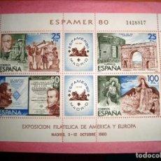 Sellos: ESPAMER 80 - HOJA COMPLETA - MADRID 3 -12 DE OCTUBRE 1980. Lote 137892962