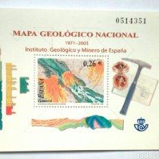 Sellos: MAPA GEOLOGICO NACIONAL HOJA BLOQUE DE SELLOS NUEVOS DE ESPAÑA. Lote 139043582